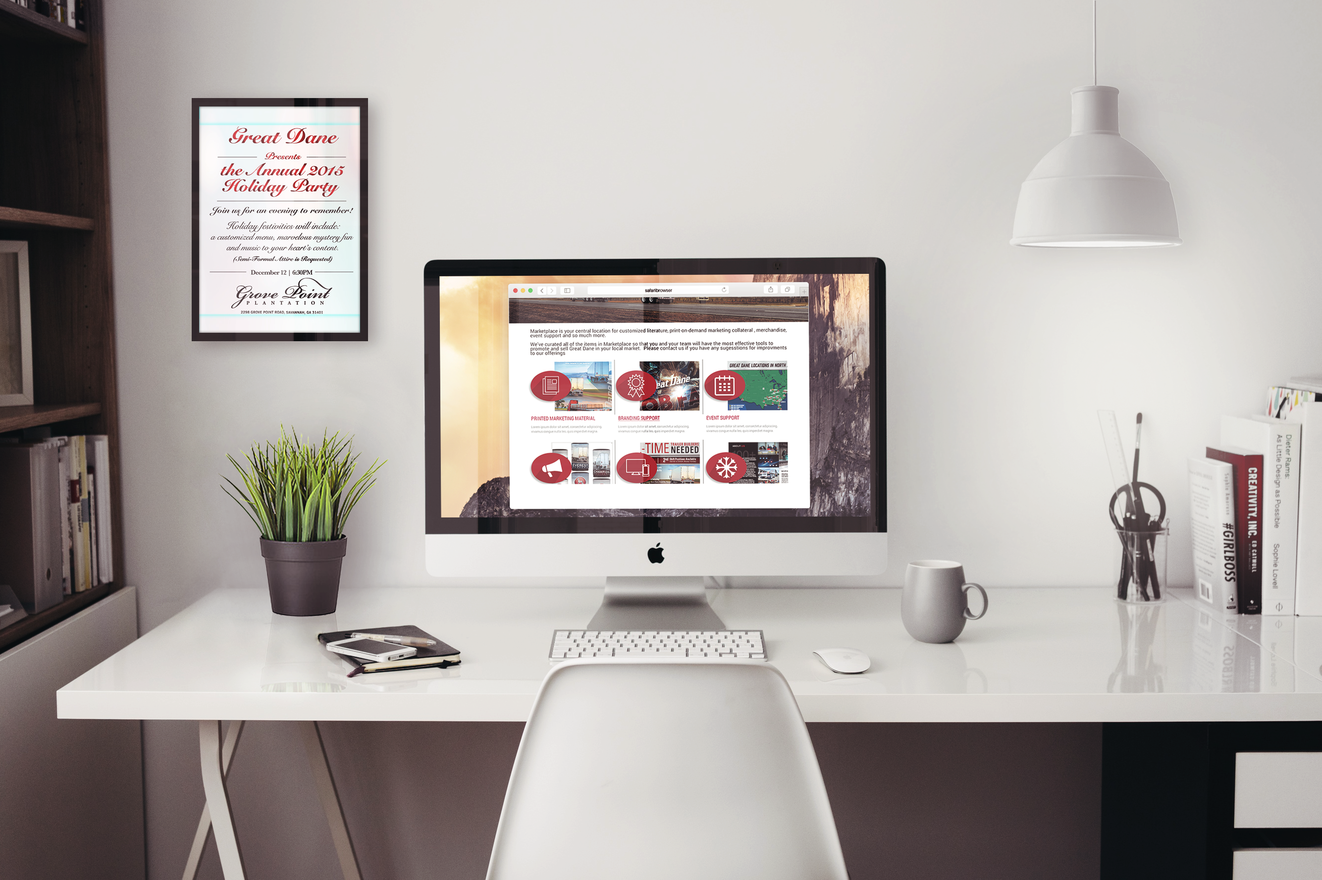 Great Dane market place in browser mockup