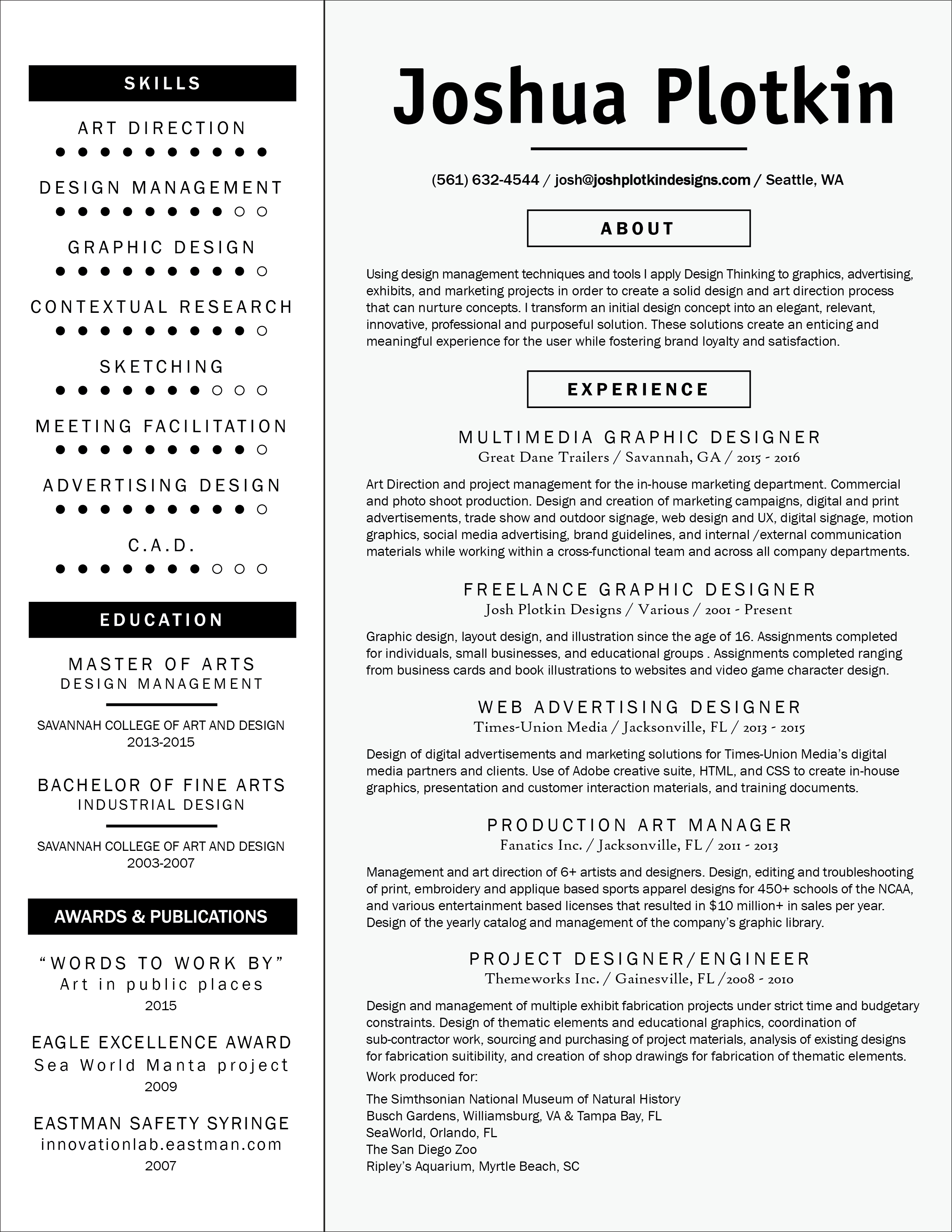 Joshua Plotkin's Resume